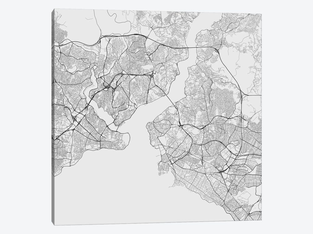 Istanbul Urban Roadway Map (White) by Urbanmap 1-piece Art Print
