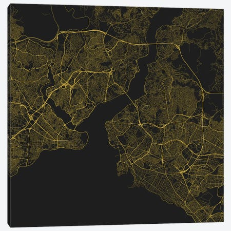 Istanbul Urban Roadway Map (Yellow) Canvas Print #ESV153} by Urbanmap Canvas Print