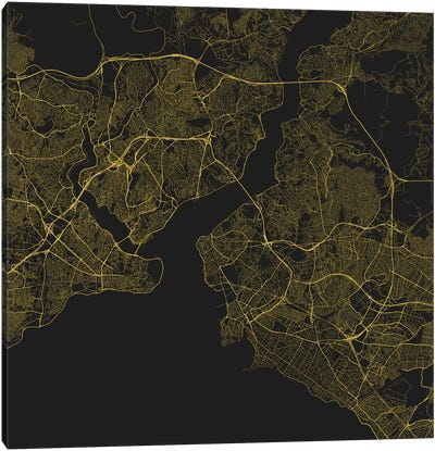 Istanbul Urban Roadway Map (Yellow) Canvas Art Print