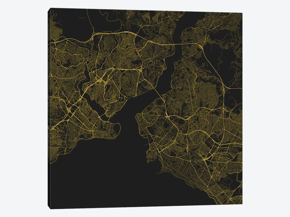 Istanbul Urban Roadway Map (Yellow) by Urbanmap 1-piece Canvas Art