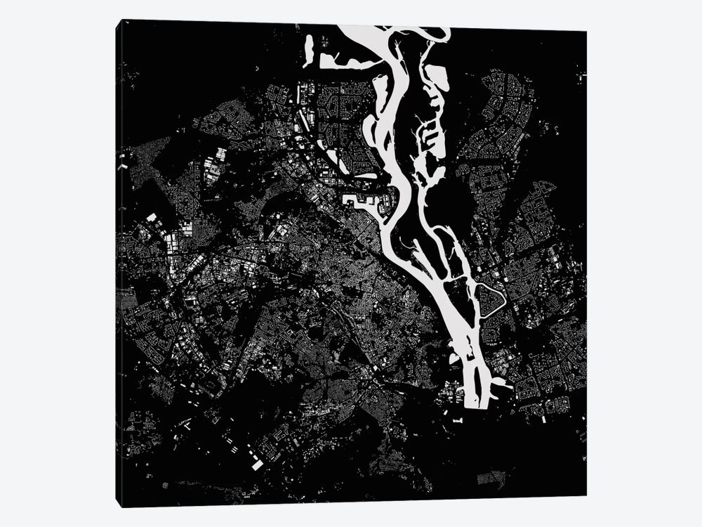Kiev Urban Map (Black) by Urbanmap 1-piece Canvas Print