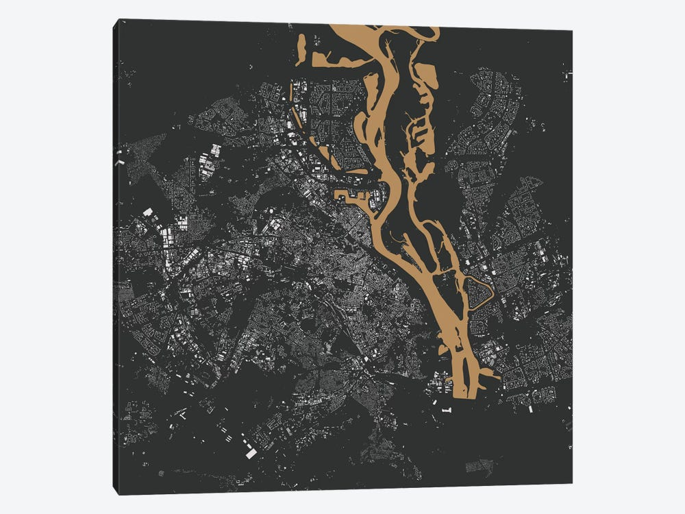 Kiev Urban Map (Gold) by Urbanmap 1-piece Art Print