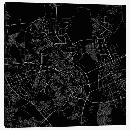 Kiev Urban Roadway Map (Black) Canvas Print #ESV163} by Urbanmap Canvas Wall Art