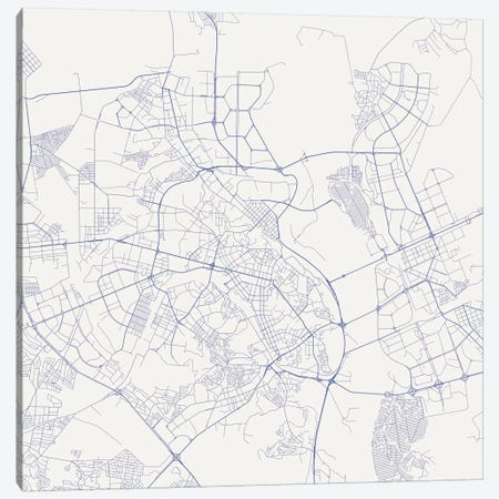 Kiev Urban Roadway Map (Blue) Canvas Print #ESV164} by Urbanmap Canvas Print