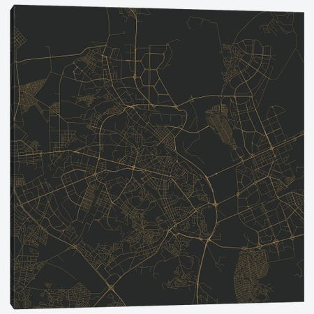 Kiev Urban Roadway Map (Gold) Canvas Print #ESV165} by Urbanmap Art Print