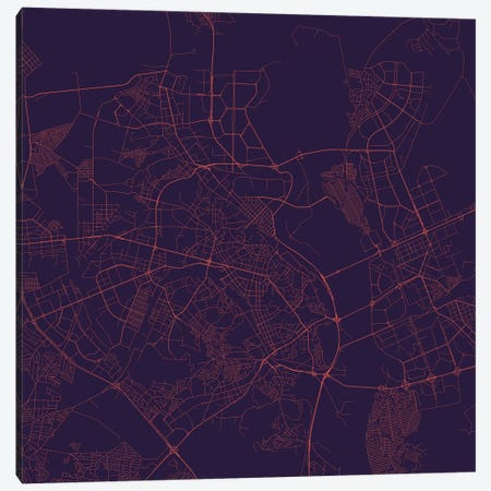 Kiev Urban Roadway Map (Purple Night) Canvas Print #ESV168} by Urbanmap Canvas Wall Art