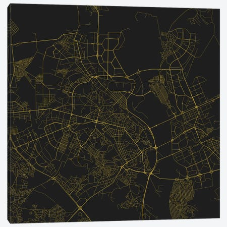 Kiev Urban Roadway Map (Yellow) Canvas Print #ESV171} by Urbanmap Canvas Print
