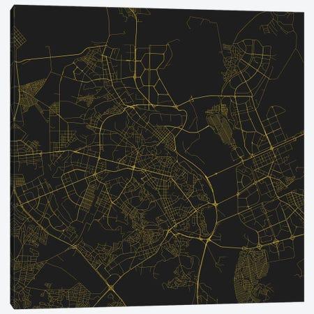 Kiev Urban Roadway Map (Yellow) Canvas Print #ESV171} by Urbanmap Canvas Print