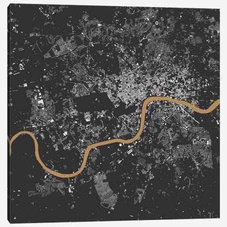 London Urban Map (Black & Gold) Canvas Print #ESV172} by Urbanmap Art Print