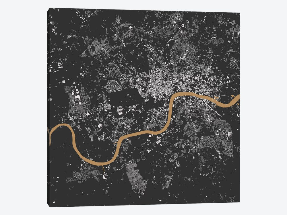 London Urban Map (Black & Gold) 1-piece Canvas Art Print