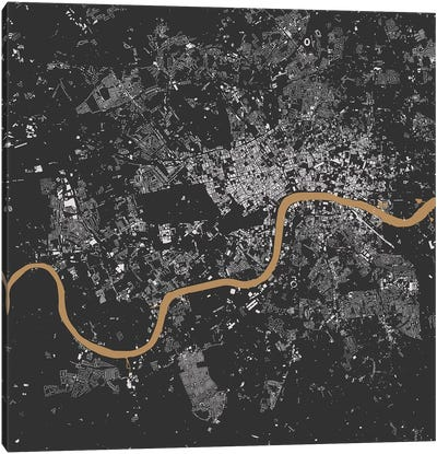 London Urban Map (Black & Gold) Canvas Art Print