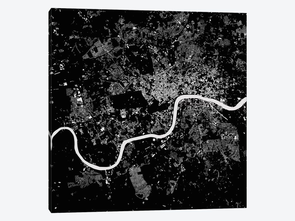 London Urban Map (Black) by Urbanmap 1-piece Canvas Artwork