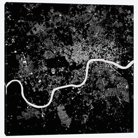 London Urban Map (Black) 3-Piece Canvas #ESV173} by Urbanmap Art Print