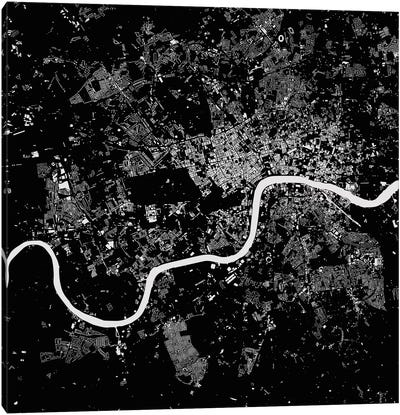 London Urban Map (Black) Canvas Art Print