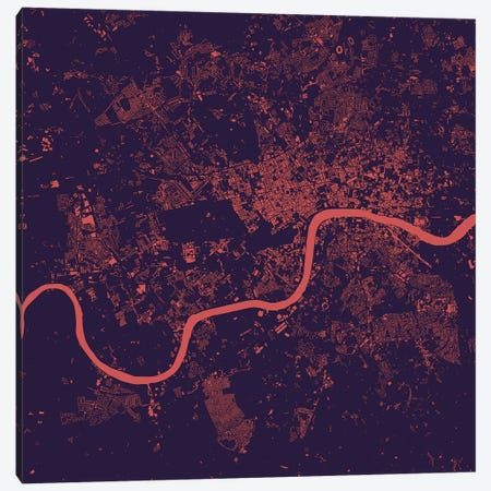 London Urban Map (Purple Night) Canvas Print #ESV177} by Urbanmap Canvas Wall Art