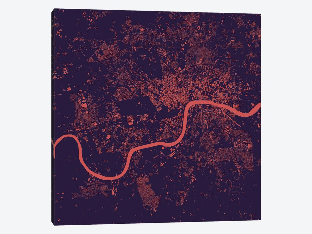 London Urban Map (Purple Night) by Urbanmap 1-piece Canvas Wall Art