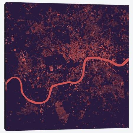 London Urban Map (Purple Night) Canvas Print #ESV177} by Urbanmap Canvas Wall Art
