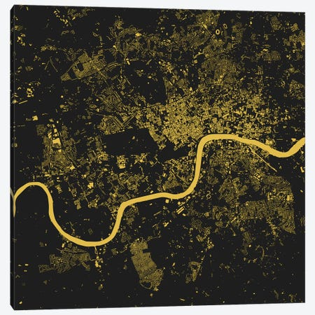 London Urban Map (Yellow) Canvas Print #ESV180} by Urbanmap Canvas Wall Art