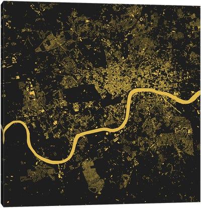 London Urban Map (Yellow) Canvas Art Print