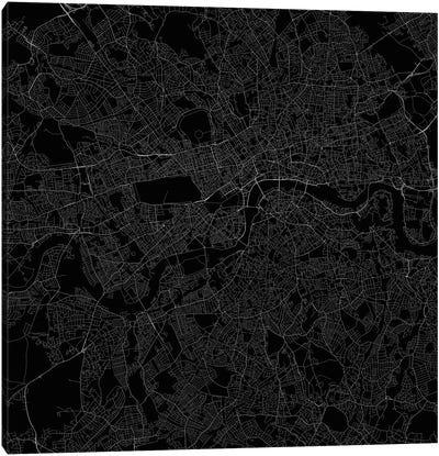 London Urban Roadway Map (Black) Canvas Art Print