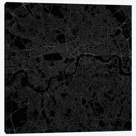 London Urban Roadway Map (Black) Canvas Print #ESV181} by Urbanmap Canvas Art