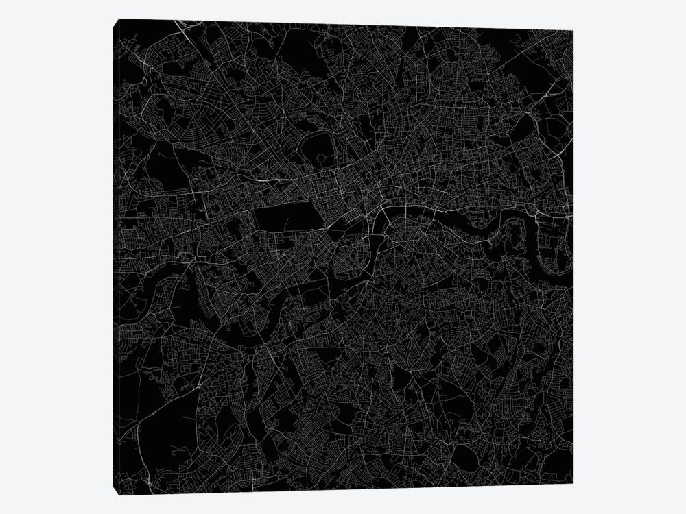 London Urban Roadway Map (Black) 1-piece Canvas Art Print