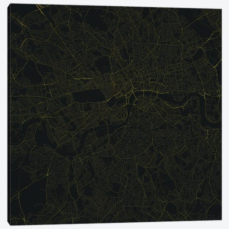 London Urban Roadway Map (Yellow) Canvas Print #ESV189} by Urbanmap Canvas Wall Art