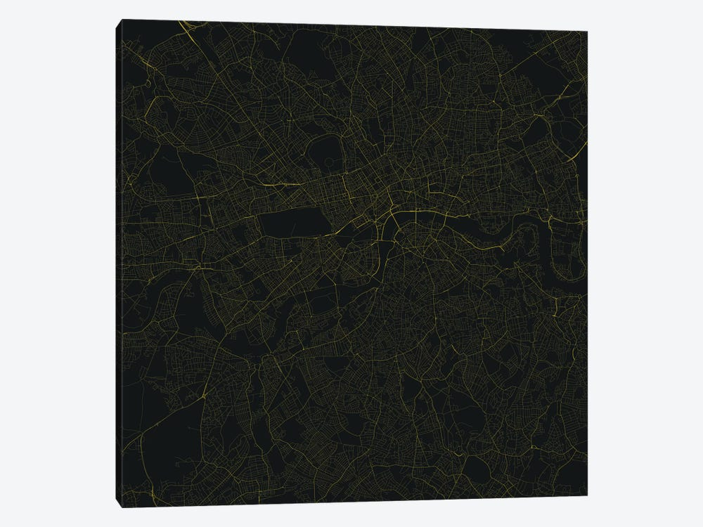 London Urban Roadway Map (Yellow) by Urbanmap 1-piece Art Print