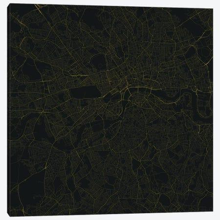 London Urban Roadway Map (Yellow) Canvas Print #ESV189} by Urbanmap Canvas Wall Art