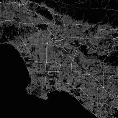 Los angeles urban roadway map black canvas art print urbanmap framed canvas gumiabroncs Choice Image