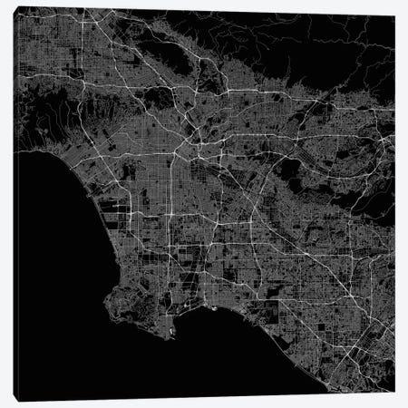 Los Angeles Urban Roadway Map (Black) Canvas Print #ESV190} by Urbanmap Art Print
