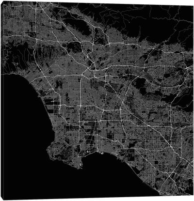 Los Angeles Urban Roadway Map (Black) Canvas Art Print