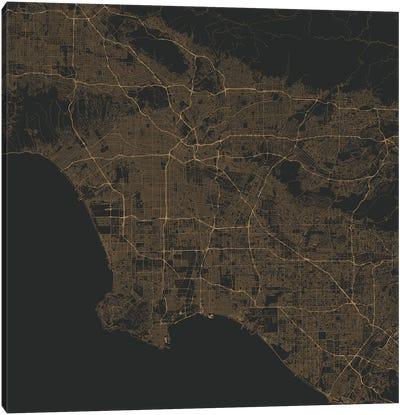 Los Angeles Urban Roadway Map (Gold) Canvas Art Print