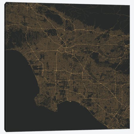 Los Angeles Urban Roadway Map (Gold) Canvas Print #ESV192} by Urbanmap Canvas Art Print