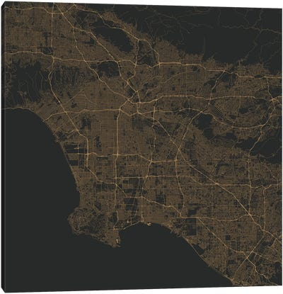 Los Angeles Urban Roadway Map (Gold) Canvas Art Print