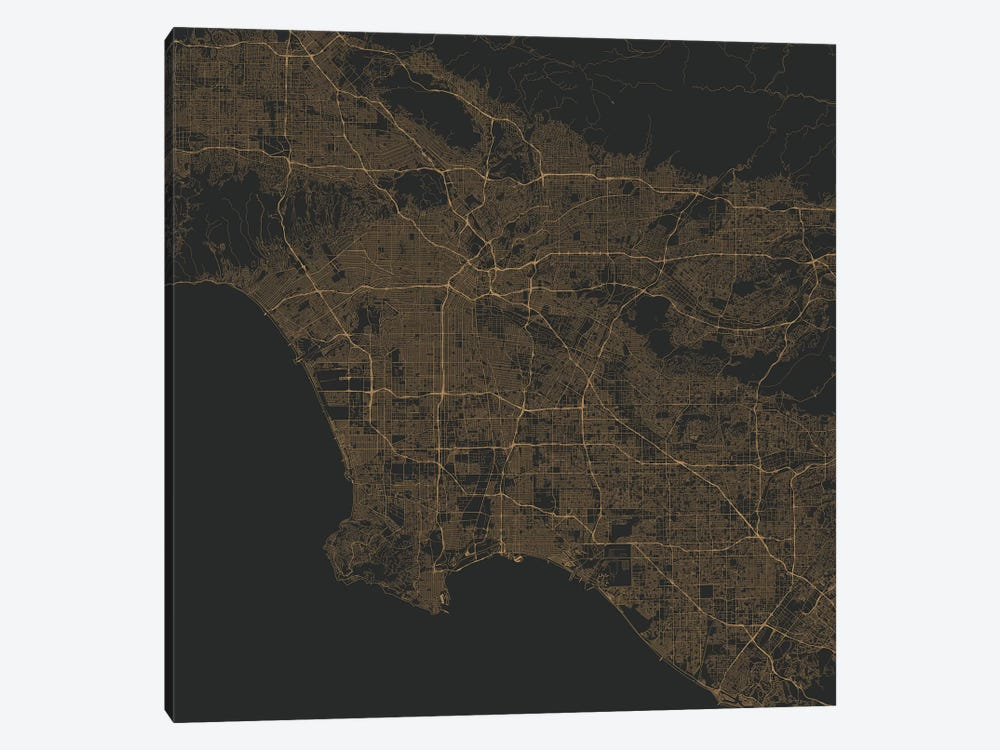 Los Angeles Urban Roadway Map (Gold) 1-piece Canvas Art Print