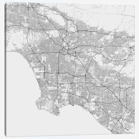 Los Angeles Urban Roadway Map (White) Canvas Print #ESV197} by Urbanmap Canvas Artwork