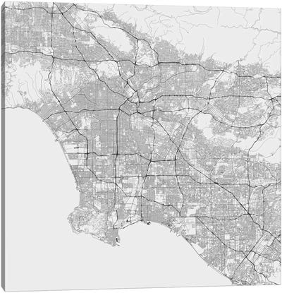Los Angeles Urban Roadway Map (White) Canvas Art Print