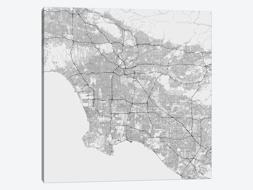 Los Angeles Urban Roadway Map (White) by Urbanmap 1-piece Canvas Art