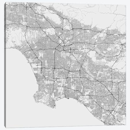 Los Angeles Urban Roadway Map (White) Canvas Print #ESV197} by Urbanmap Canvas Artwork