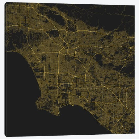 Los Angeles Urban Roadway Map (Yellow) Canvas Print #ESV198} by Urbanmap Canvas Print