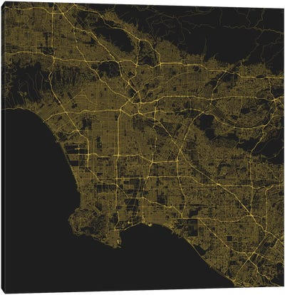 Los Angeles Urban Roadway Map (Yellow) Canvas Art Print