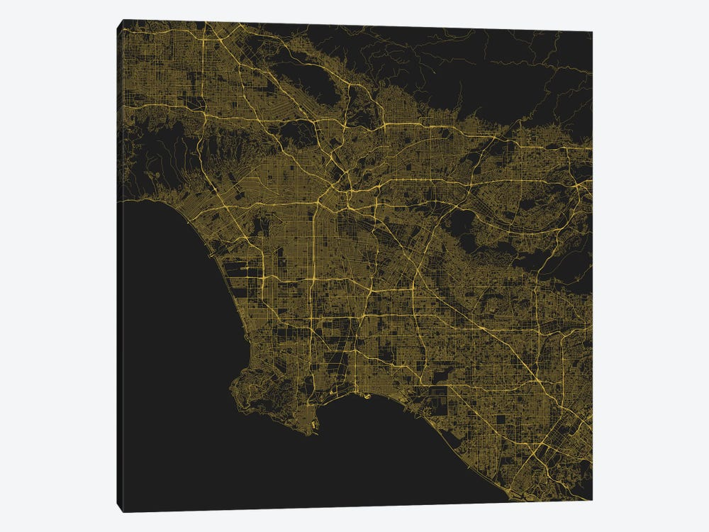 Los Angeles Urban Roadway Map (Yellow) by Urbanmap 1-piece Canvas Art Print