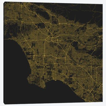 Los Angeles Urban Roadway Map (Yellow) Canvas Print #ESV198} by Urbanmap Canvas Print