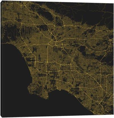 Los Angeles Urban Roadway Map (Yellow) Canvas Art Print