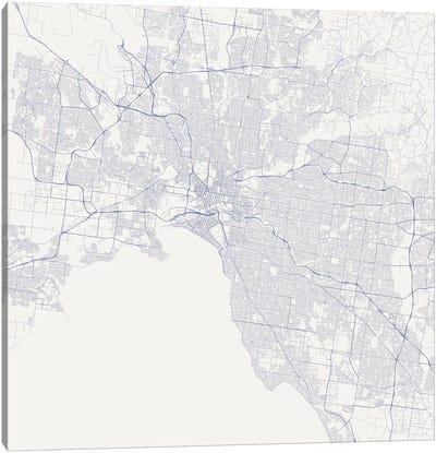 Melbourne Urban Roadway Map (Blue) Canvas Art Print
