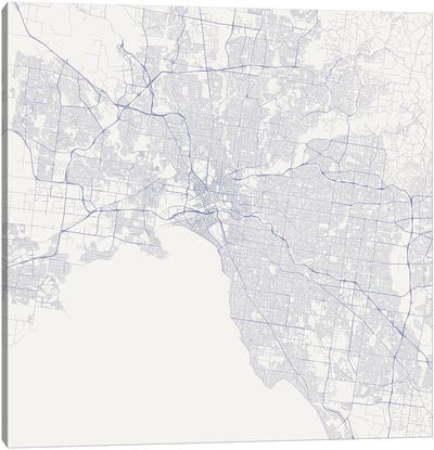 Melbourne Urban Roadway Map (Blue) Canvas Art Print