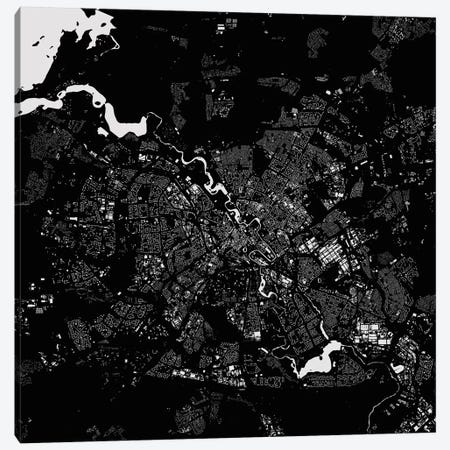 Minsk Urban Map (Black) Canvas Print #ESV208} by Urbanmap Canvas Print