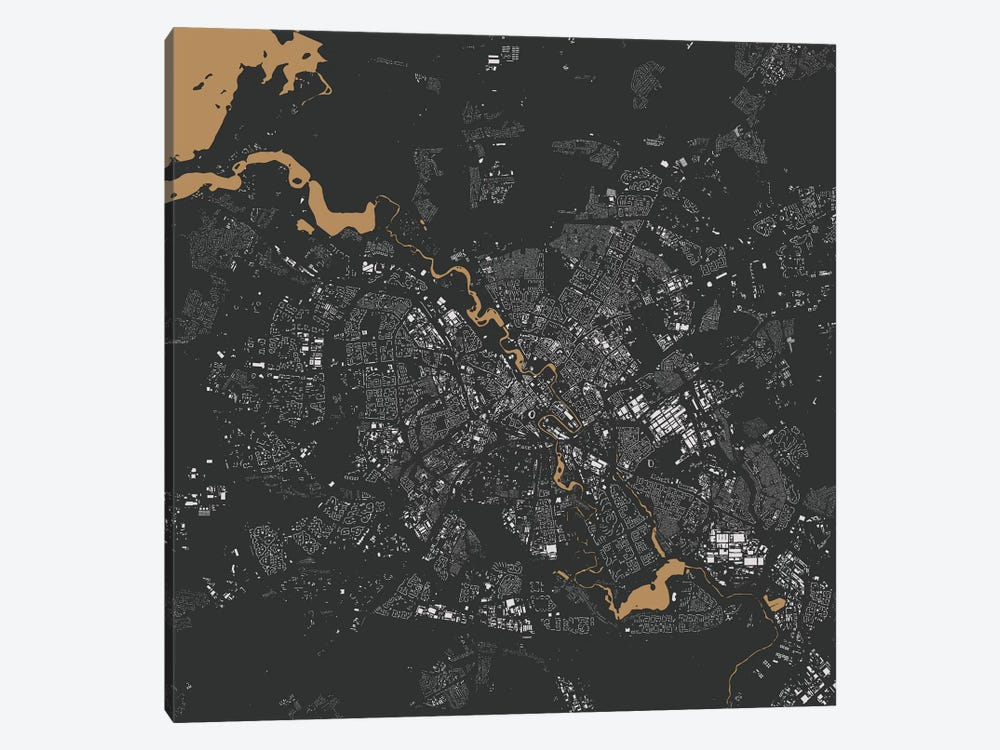 Minsk Urban Map (Gold) by Urbanmap 1-piece Canvas Print