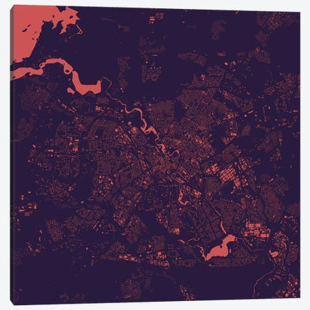 Minsk Urban Map (Purple Night) Canvas Print #ESV213} by Urbanmap Canvas Artwork